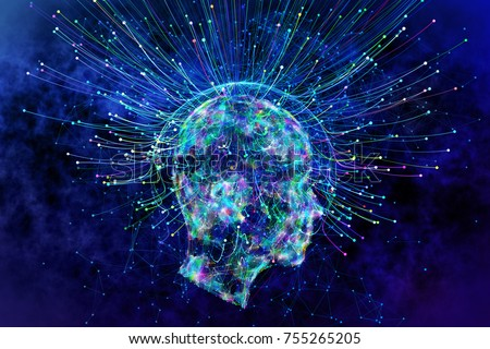Abstract glowing polygonal head background with neurons. Artificial intelligence and idea concept. 3D Rendering