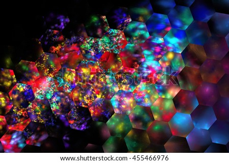 Abstract glowing shapes on black background. Fantasy hexagonal fractal texture in neon blue, purple, red, yellow and green colors. 3D rendering. - stock photo