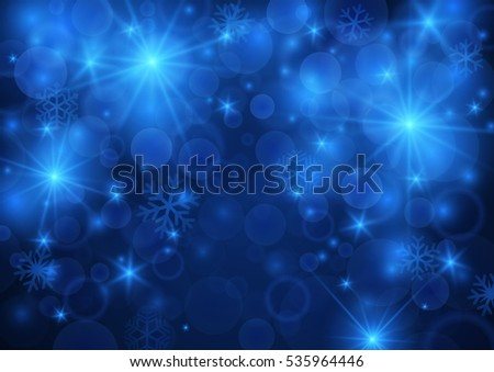 Abstract glowing shiny bokeh background in blue color