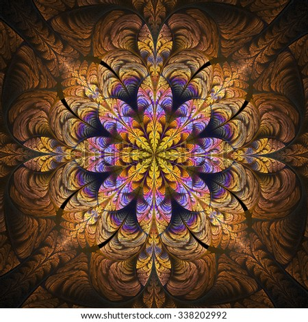 Abstract glowing stained glass with floral ornament on black background. Symmetrical pattern. Computer-generated fractal in orange, yellow, brown, violet and rose colors. - stock photo
