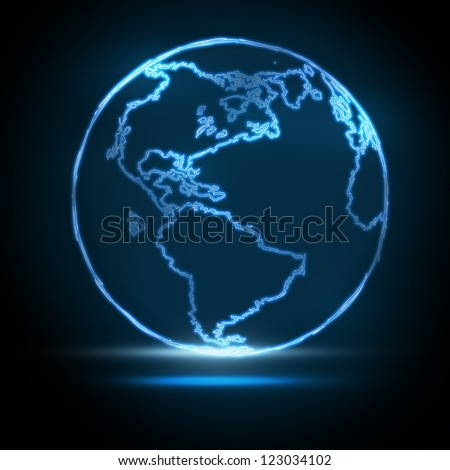 Abstract Glowing World Map on black background - stock photo