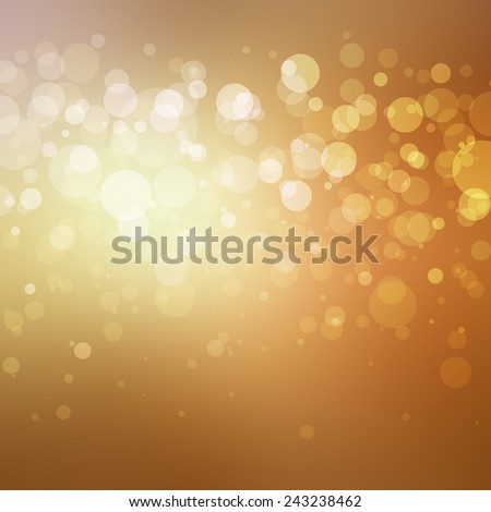 abstract gold background with white bokeh lights shining in stripe across center, bright shiny spotlight center behind layers of bubbles - stock photo