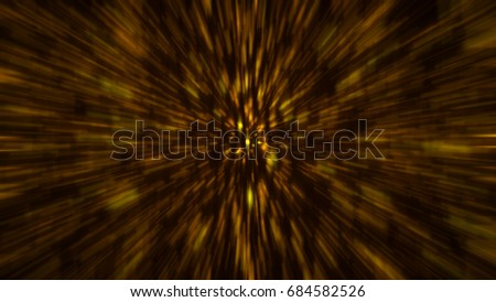 Abstract gold blur background. Zoom backdrop. 3D rendering