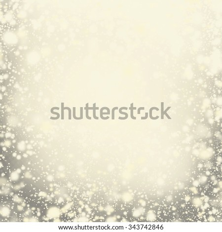 Abstract Golden  Background with Christmas Glitter Defocused Bokeh, Blinking Stars and snowflakes. Blurred Soft colored - stock photo