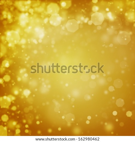 Abstract golden Christmas background of bokeh defocused lights