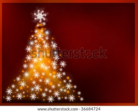 Abstract golden christmas tree on big open copy-space red background