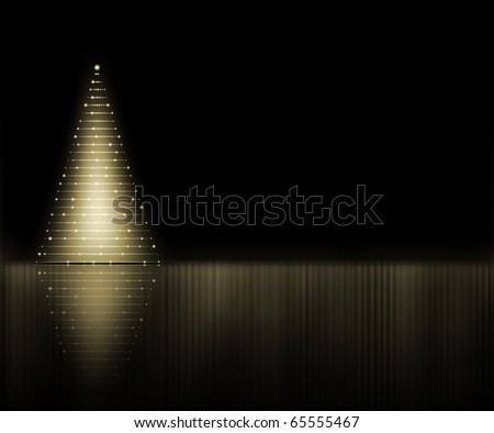 Abstract golden Christmas tree on the black background - stock photo