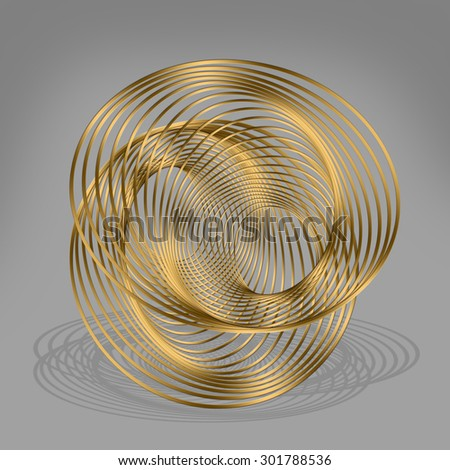 Abstract golden metal curves  - stock photo
