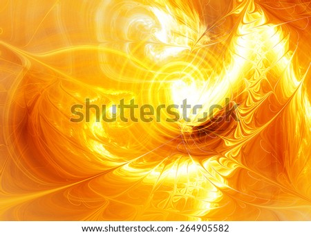 Abstract golden pattern. Glowing dynamic template with lighting effect for creative design. Futuristic shiny bright background for wallpaper desktop, poster, cover booklet, flyer. Fractal art - stock photo