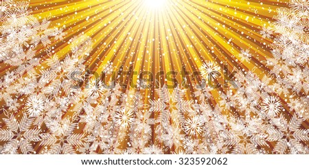 Abstract golden winter Christmas background  - stock photo