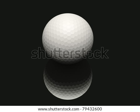 abstract Golf ball with black background - stock photo