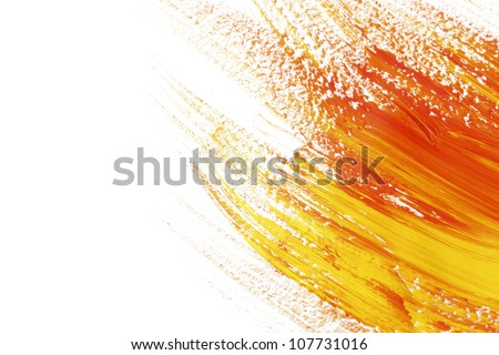 Abstract gouache paint and brushes, isolated on white - stock photo