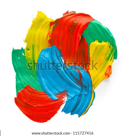 Abstract gouache paint, isolated on white - stock photo