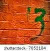 Abstract graffiti on Bricks with the number 3 - stock