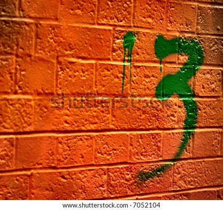 Abstract graffiti on Bricks with the number 3 - stock photo