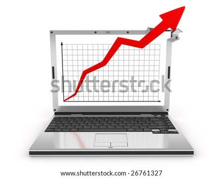 abstract graph showing high growth (isolated, 3d)