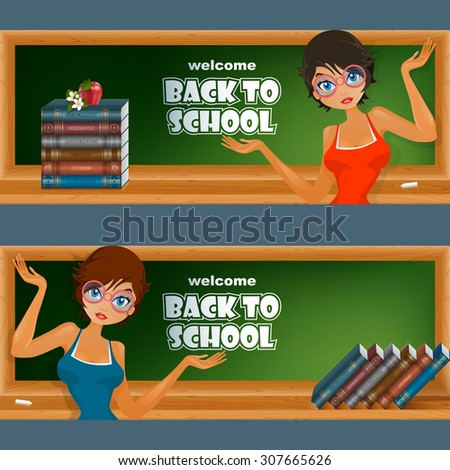 Abstract graphic, design web banner, header; Set of banners with primary subject matter, school books, cartoon girl character, chalk, apple and flowers - stock photo