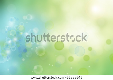 Abstract green and blue lights background - stock photo