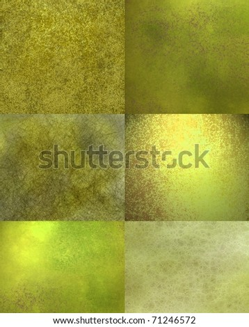 abstract green and gold background of rectangle blocks with old faded texture and  grunge with soft lighting and elegant design layout - stock photo
