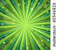 Abstract green and yellow background with rays, stars and balls - stock photo