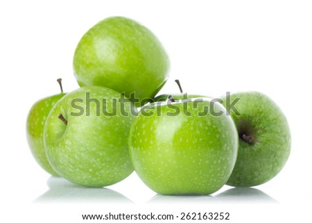 Abstract green apple background macro in selective focus.  - stock photo