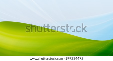 Abstract green background. Mountains on a blue sky.