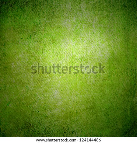 Abstract green background or paper with bright center spotlight and dark border frame with grunge background texture. For vintage layout design of light colorful graphic art - stock photo