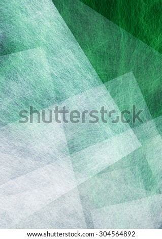 abstract green background, white triangle and rectangle layers - stock photo