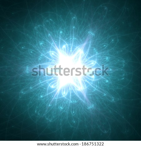 Abstract green-blue beaming detailed star with six corners against dark background