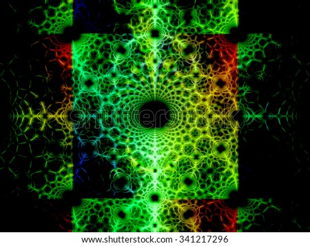 Abstract green computer generated background  ornament with mesh and curls