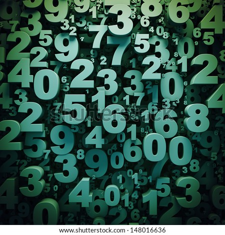 Abstract green 3D numbers background computer generated render - stock photo