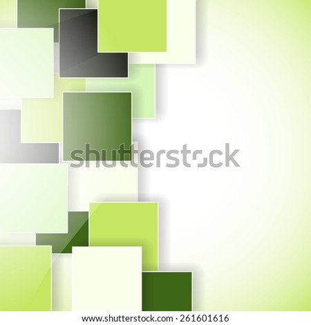 abstract green eco background with squares - stock photo