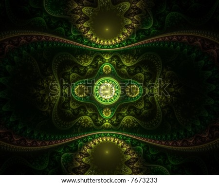 Abstract green fractal - stock photo
