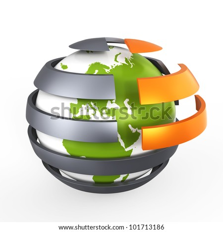 Abstract green globe, concept - stock photo