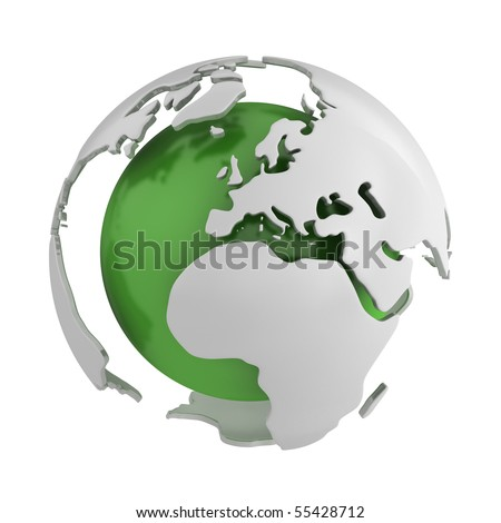 Abstract green globe, Europe - stock photo
