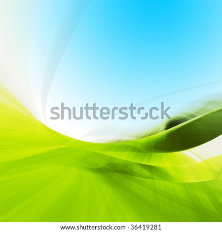Abstract green hilly landscape background with copy-space - stock photo