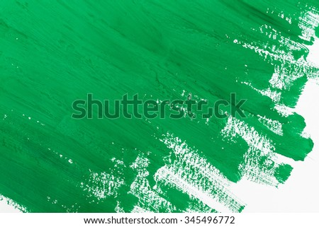 abstract green paint brush strokes watercolor background on white paper - stock photo