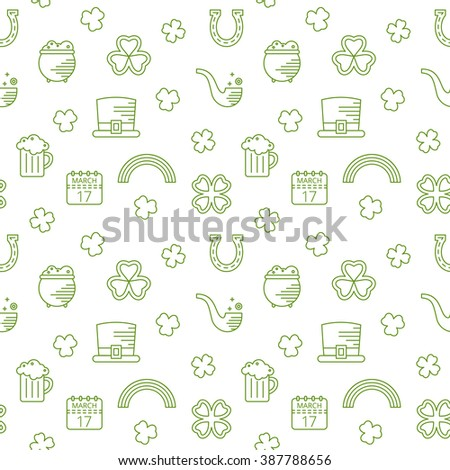 Abstract green seamless line art pattern for St. Patricks day. Design element for banner, card, invitation, postcard, textile, fabric, wrapping paper. Raster copy of vector file. - stock photo