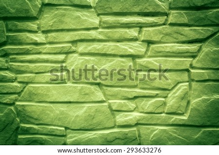 Abstract green stone wall background texture - stock photo