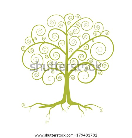 Abstract Green Tree Illustration Isolated on White Background