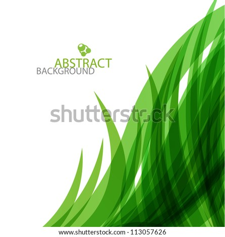 Abstract green wavy lines design - stock photo