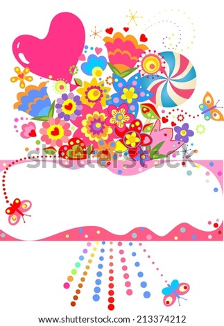 Abstract greeting bouquet. Raster copy - stock photo