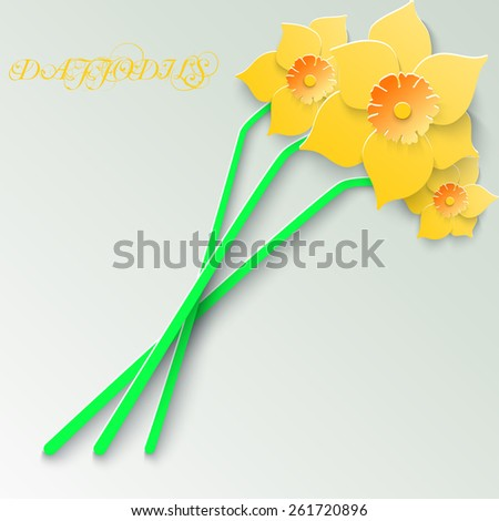 Abstract greeting card with 3d yellow daffodils. Spring floral paper background.  - stock photo