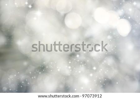 Abstract Grey Bokeh Lights - stock photo