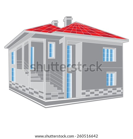 abstract grey  with red roof icon of cottage country house isolated on white background Architectural 3d raster illustration