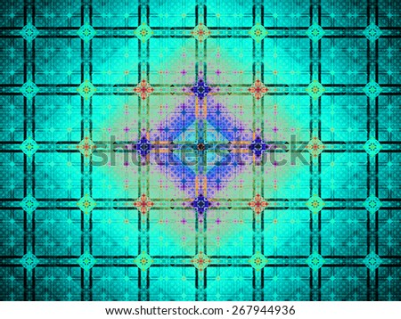 Abstract grid background with a detailed large square pattern made out of small squares and connected with rings and fit into columns and rows, all in bright vivid shining teal,red,purple,pink - stock photo