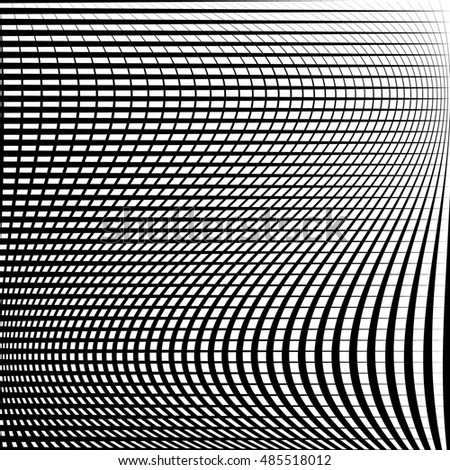 Abstract grid, mesh pattern with distortion effect. Abstract monochrome pattern, artistic geometric graphic.