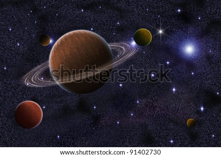 Abstract group of saturn planet in galaxy
