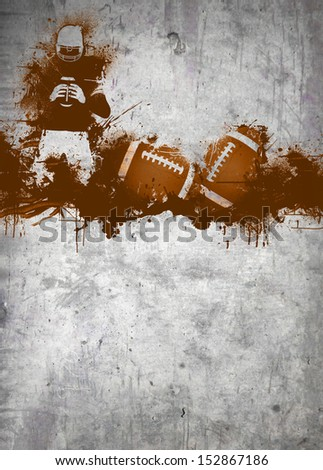 Abstract grunge american football invitation poster or flyer background with space - stock photo