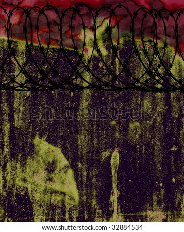 abstract grunge background with barbed wire - stock photo